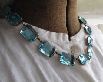 "Anna Wintour necklace, aquamarine, collet necklace, downton abbey, Art Deco jewelry, necklaces, rhinestone choker. ""Beyond the Sea"""