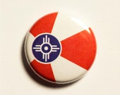 "1"" Wichita KS flag button - Kansas, city, pin, badge, pinback"