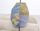 RESERVED listing for Pat  Sand and Sea Mermaid Lady Face Bead Blue Lace Agate & Polymer Clay