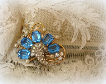 vintage rhinestone brooch marked C R C gold filled brooch with pendant bail . rhinestones pearls DReamy viVid blue reis co