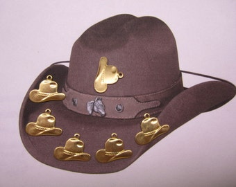 Cowboy Hat Charms Western Findings on Etsy x 6