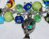 Alien Space Race Loaded Charm Bracelet