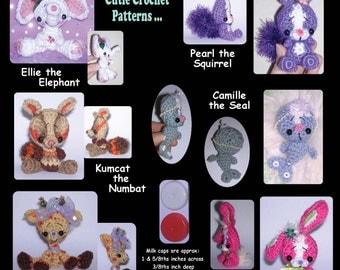 Six Milk Cap Cutie Digital PDF Crochet Patterns Elephant Bunny Rabbit Seal Giraffe Squirrel Numbat