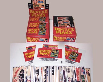 1968 BEATLES PLAKS test issue BOX, complete set of 55 plaks, and 12 wrappers reproduction