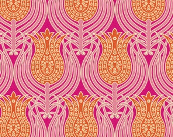 Tangerine Orange and Pink Modern Tulips Cotton Fabric - Modern Quilting Sewing - Notting Hill Collection - cotton Fabric by the yard