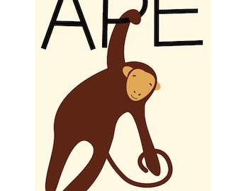 Childrens Nursery Decor sweet little ape 8 x 10 inch print