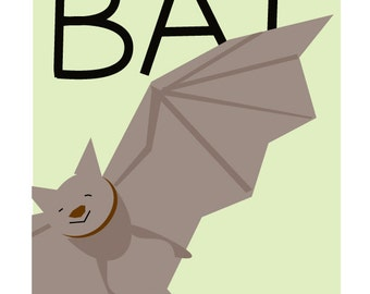 B is for bat sweet kids decor  8 x 10 inch print