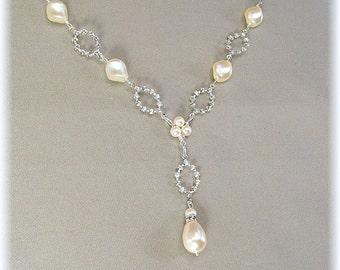 Cream Pearls, Dainty Rhinestone Pearl Drop Wedding Necklace, Rhinestone Diamond Crystal Loops, Y Necklaces, Bridesmaid Necklaces