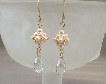Regal Elegance Woven Drop Earrings - Cream Pearls and Clear Swarovski Crystal - 14k gold filled - Bridal Earrings