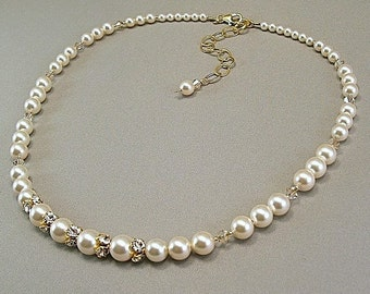 Golden Hue Necklace, Rhinestone Necklace, Swarovski Austrian Pearls and Swarovski Crystal, Swarovski Rhinestone Jewelry