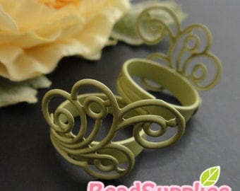FN-RB-09051-Nickel free Spiral Feather filigree ring (Adjustable), mint, 2 pcs