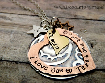 Personalized necklace-handstamped-sterling silver-copper-star-heart-Texas-texas necklace-i love you to texas and back