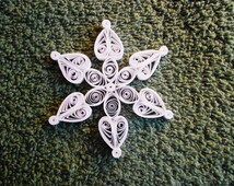"""Mini Quilled Snowflake """"Hearts & Flower"""" Ornament"""