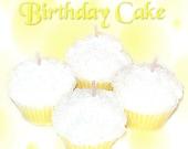 4 Birthday Cake Cupcake Candle Minis Vanilla Scent Yellow