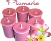 6 Plumeria Votive Candles Fruity Floral Scent