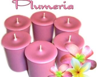 6 Plumeria Votive Candles Fruity Floral Scent