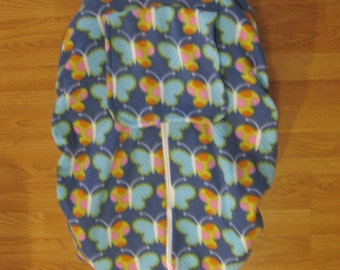 Butterfly fleece infant car seat cover
