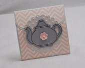 Chevron Tea Bag Favor Pink and Grey