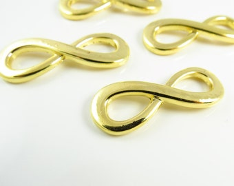 34mm x 13mm Bright Gold  Alloy Infinity Link - 2 Links - LCI009MBG