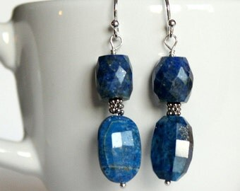 Lapis Lazuli Drop Earrings-Sterling Silver, Gemstone Jewelry