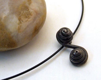 DOUBLE SPIRAL ETERNITY Necklace in Dark Patina with Steel Choker - Cast Recycled Sterling Silver - Limited Edition Jewelry - Last One
