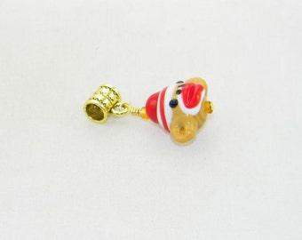Handmade lampwork sock monkey large hole dangle charm bead for European bracelets and necklaces
