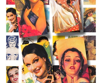 Latina ladies, a 1 x 2 inch domino tile sized, vintage printable digital collage sheet no. 432