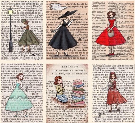 Paris Vintage Bookish Ladies Postcards - Set of 12