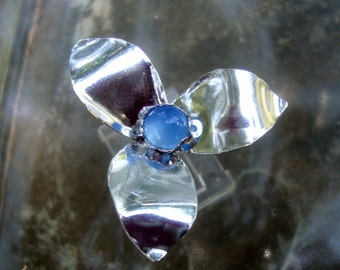 Ring - Flower Wild Stacker in Eco friendly sterling silver from recycled sources- custom size - blue chalcedony