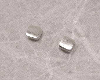 2.5mm Tiny Brushed Square Studs Sterling Silver Earrings Modern Studs by Susan Sarantos