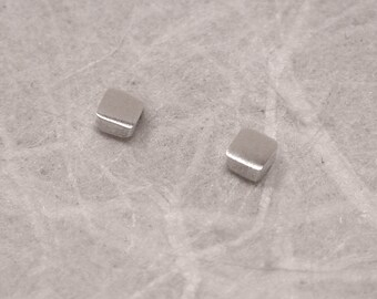 2mm Tiny Square Silver Stud Earrings Itty Bitty Brushed Sterling Silver Studs by Susan Sarantos