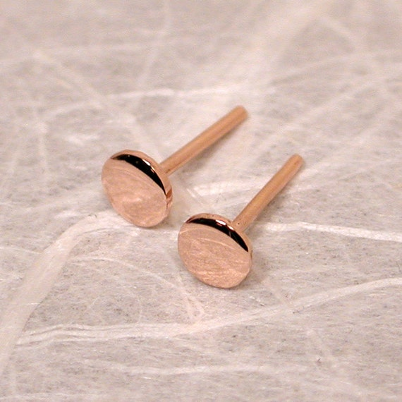 4mm Small 14k Rose Gold Stud Earrings Flat Gold Studs by Susan
