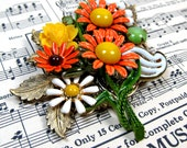 Daisy Daisy Vintage Collage Brooch enamel flowers Upcycled mothers day