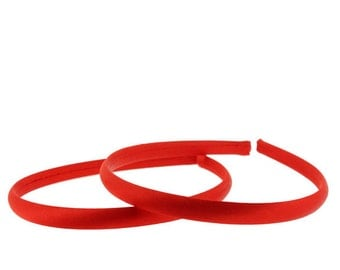 7mm Satin Covered Headbands in RED - 6 pieces