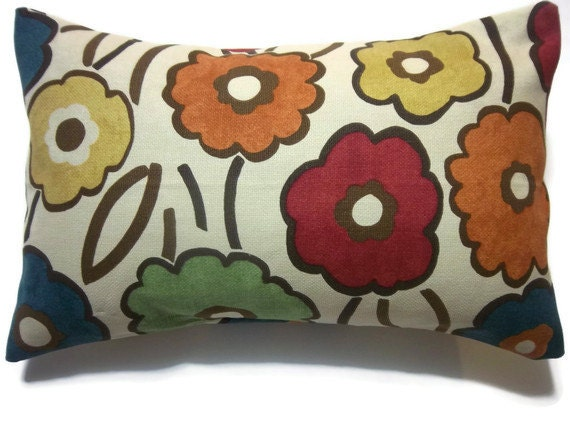 RESERVED Decorative Pillow Cover One Royal Blue Orange Tangerine Gold Green Red Lumbar Funky Floral Toss Throw Accent 12x18