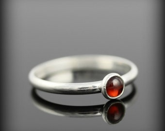 Garnet ring - recycled sterling silver ring with bezel set 4mm gemstone, january birthstone