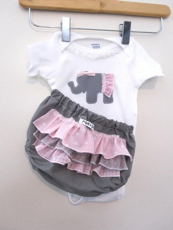 Bubble Gum Elephant - ruffle diaper covers gift set