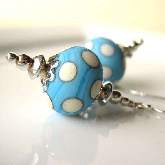 Sweet Caroline Lampwork glass earrings in sterling silver