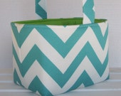 Easter Fabric Basket Bucket Candy Egg Hunt Bin - Aqua Blue/ White Chevron ZigZag  - PERSONALIZED/ Name Tag Available - See Note in Listing