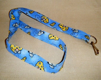 Mice and cheese on blue - handmade fabric lanyard