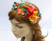 Tropical Flower Crown, Summer Bride, Rainbow Flower Crown, Fairy Wedding, Woodland Wedding, Woodland Crown, Boho Hair Wreath - RuthNoreDesigns