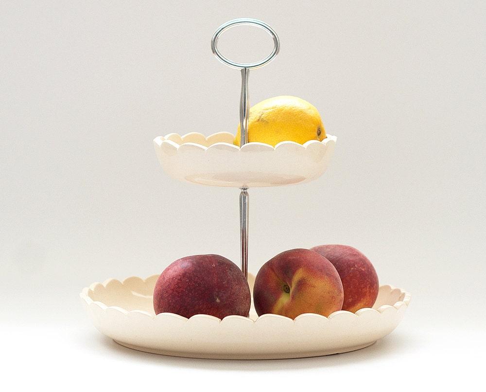 Fruit basket 2 tiered fruit bowl cream - Tiered fruit bowl ...
