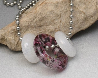 Pate de Verre Fused Glass Beads Necklace - Cranberry Bog
