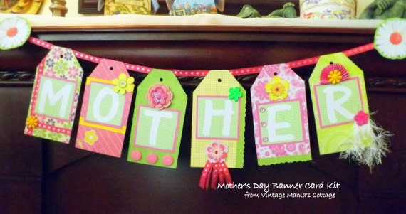 Mother's Day Banner Card KIT DIY Handcrafted Collage FREE Shipping
