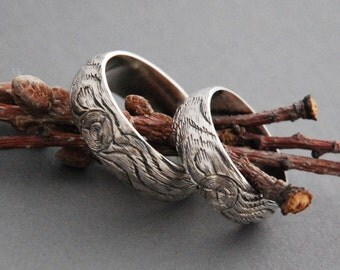 matching mens SET woodgrain wedding ring KNOTTY PINE sterling silver