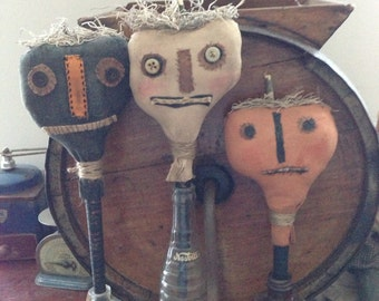 Primitive Halloween Pumpkin Crock Sticks