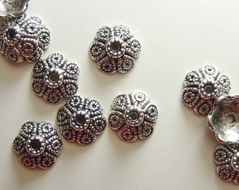 25 Silver metal floral bead caps jewelry making supplies 10 mm Two Sisters Designs