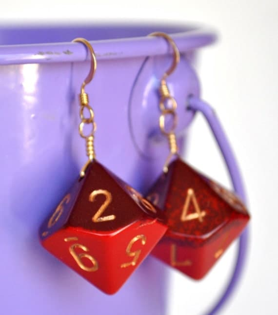 Red and Burgundy Dice Earrings - d10 Dice Jewelry - Geek Earrings