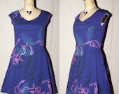 Purple Cotton Jersey Spring Dress with blue bell flowers, pink nautical anchors, turquoise feathers screenprinted