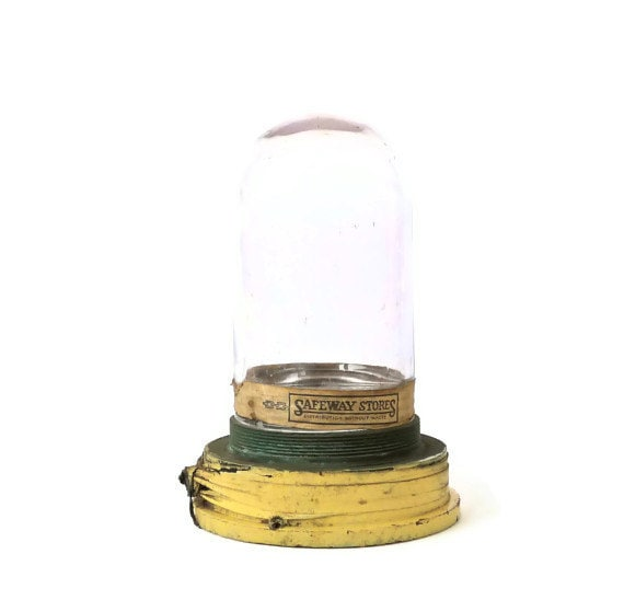 Reserved Listing - Industrial Old Fishing Boat Glass Dome Light Fixture